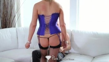 Teen blonde babe gets anal fucked with her BF and stepmom